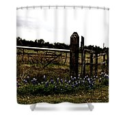 Blue Bonnet Fence V4 Shower Curtain