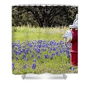 Blue Bonnets Fire Hydrant V2 Shower Curtain