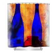 Blue Bottles Photo Art Shower Curtain