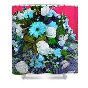 Blue Bouquet Shower Curtain
