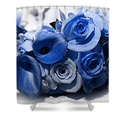 Blue Bouquet Shower Curtain