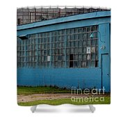 Blue Building In Delaware Ohio Shower Curtain