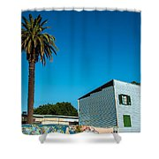 Blue Building In Historic Neighborhood Shower Curtain
