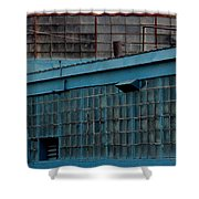 Blue Building Windows Shower Curtain