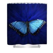 Blue Butterfly Ascending 02 Shower Curtain