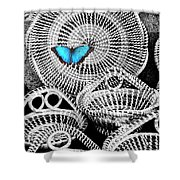 Blue Butterfly Charleston Shower Curtain
