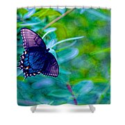 Blue Butterfly Fantasy Shower Curtain
