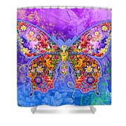 Blue Butterfly Floral Shower Curtain