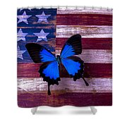 Blue Butterfly On American Flag Shower Curtain