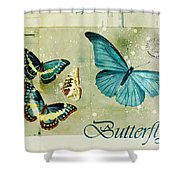 Blue Butterfly - S55c01 Shower Curtain by Variance Collections