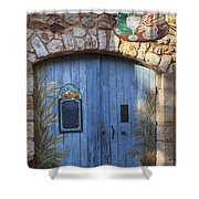 Blue Cafe Doors Shower Curtain