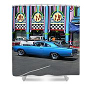 Blue Car With Colorful Background Shower Curtain