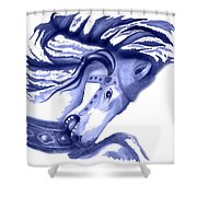 Blue Carrousel Horse Shower Curtain