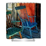 Blue Chair Against Red Door Shower Curtain