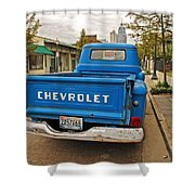 Blue Chevy Tailgate Shower Curtain