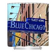 Blue Chicago Club Shower Curtain