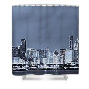Blue Chicago Skyline Shower Curtain