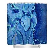 Blue Chicken Shower Curtain