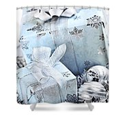 Blue Christmas Gift Boxes Shower Curtain