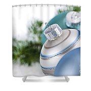 Blue Christmas Ornaments Shower Curtain