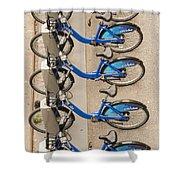 Blue City Bikes Shower Curtain