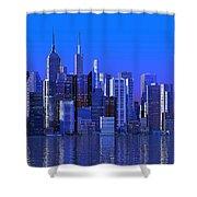 Chicago Blue City Shower Curtain