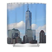 Blue City Skyline Shower Curtain