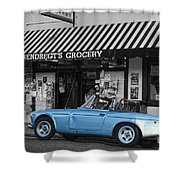 Blue Classic Car In Jamestown Shower Curtain by RicardMN Photography