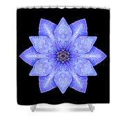 Blue Clematis Flower Mandala Shower Curtain