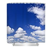 Blue Cloudy Sky Panorama Shower Curtain
