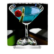 Blue Cocktail With Cherry And Lime Shower Curtain