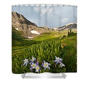Handie's Peak And Blue Columbine On A Summer Morning Shower Curtain by Cascade Colors