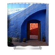 Blue Courtyard Shower Curtain