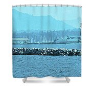 Blue Customs Shower Curtain