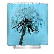 Blue Dandelion Wish Shower Curtain