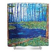 Blue Day Stream Shower Curtain