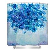 Blue Delphiniums Shower Curtain