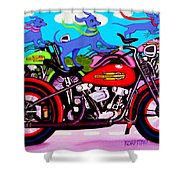 Blue Dogs On Motorcycles - Dawgs On Hawgs Shower Curtain