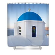 Blue Domed Church In Oia Santorini Greece Shower Curtain by Matteo Colombo