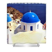 Blue Domes In Santorini Shower Curtain