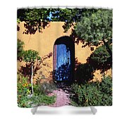 Blue Door At Old Mesilla Shower Curtain