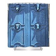 Blue Door Decorated With Wooden Animal Heads Shower Curtain