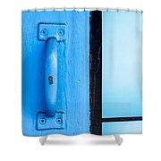 Blue Door Handle Shower Curtain
