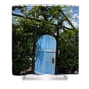 Blue Door To Childrens Garden Huntington Library Shower Curtain