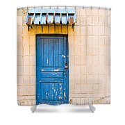 Blue Door With A Lock Shower Curtain