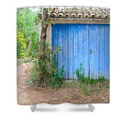 Blue Doors And Yellow Flowers Shower Curtain