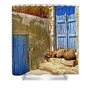 Blue Doors Of Santorini Shower Curtain