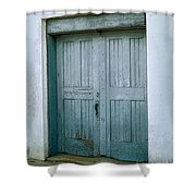 Blue Doors On Brewer Street Shower Curtain