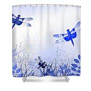 Blue Dragonfly Art Shower Curtain