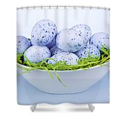 Blue Easter Eggs In Bowl Shower Curtain